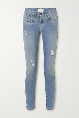 Distressed Mid-rise Skinny Jeans - Blue