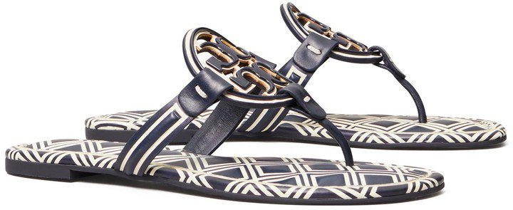 Miller Metal-Logo Sandal, Printed Leather