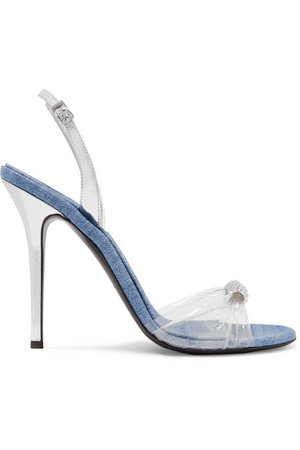 Giuseppe Zanotti | Alien crystal-embellished metalic leather, denim and PVC sandals | NET-A-PORTER.COM