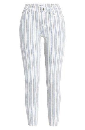 FRAME Le Skinny de Jeanne Surfer Stripe Ankle Skinny Jeans (Dutch Blue Multi) grey