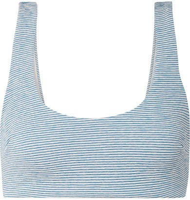 Lira Striped Jacquard-knit Bikini Top - Light blue