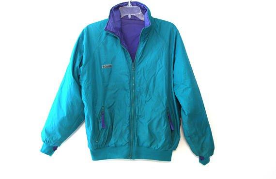 Vintage 80s Columbia jacket teal purple reversible coat