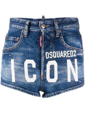Dsquared2 Icon Print Denim Shorts Ss20 | Farfetch.com