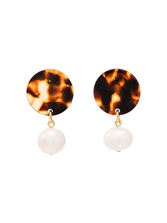 Aym Brown And White Andreia Disc Pearl Earrings | Farfetch.com