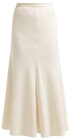 Bias Cut Crepe Midi Skirt - Womens - Ivory