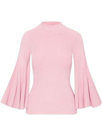 Shop pink Oscar de la Renta flounce sleeve knitted jumper with Express Delivery - Farfetch