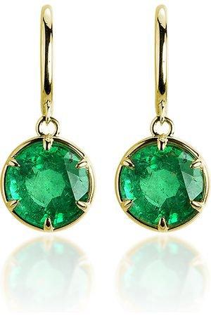 Ila women earrings alastair 14k gold and emerald earrings