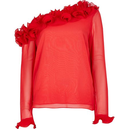 Red long sleeve one shoulder frill top   River Island