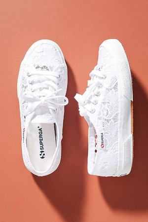Lace Low-Top Sneakers By in White Size 8