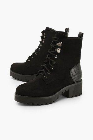 Croc Panel Block Heel Hiker Boots | Boohoo
