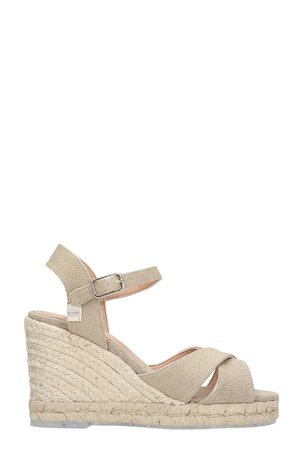 Castañer Blaudell 8 Wedges In Beige Canvas