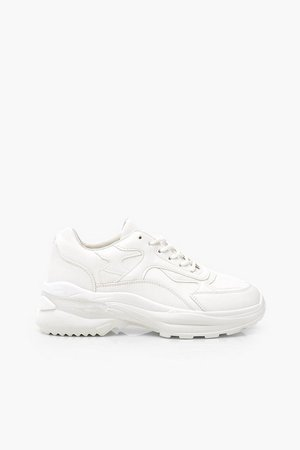 Chunky Lace Up Trainers | Boohoo white