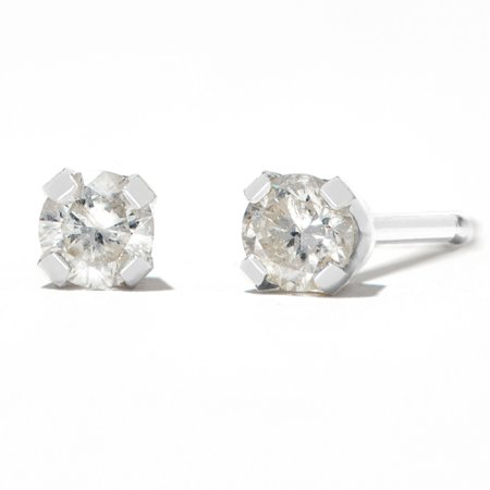 Round Diamond Stud Earrings 1/10 ct tw 14kt White Gold   Claire's US