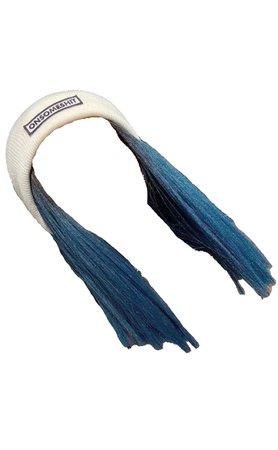Blue Hair W/ White Beanie