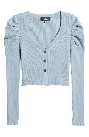 Lulus Puff Shoulder Crop Cardigan | Nordstrom