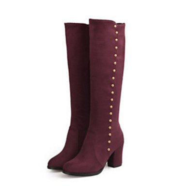 Women's Suede Fall / Winter Comfort / Novelty Boots Pointed Toe Knee High Boots Rivet Black / Blue / Burgundy 6385506 2018 – €34.70