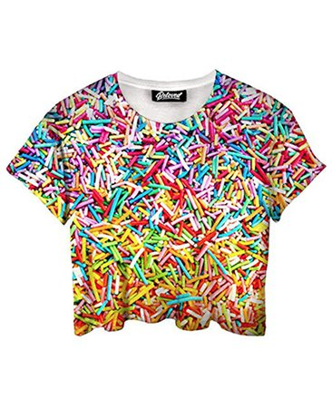 Beloved Shirts Sprinkles Crop Tee - Premium All Over Print Women's Tees at Amazon Women's Clothing store: