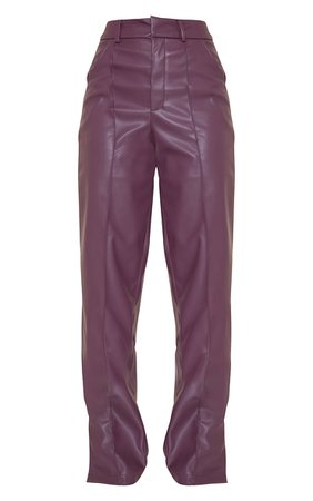 Plum Faux Leather Pintuck Straight Leg Trousers | PrettyLittleThing USA