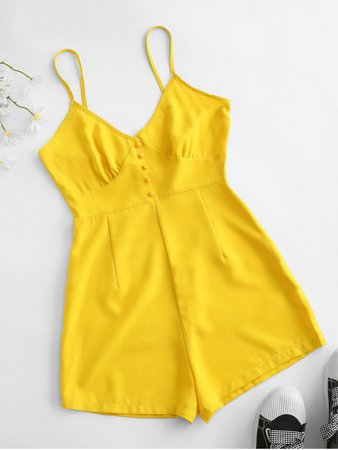 [27% OFF] [HOT] 2020 Buttons Cami Romper In YELLOW | ZAFUL
