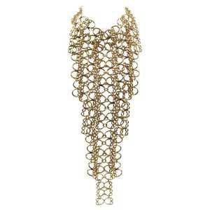 Overzised Gilt Metal Space Age Drapery Link Bib Necklace
