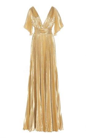 Azdorado Plissé Lurex Gown