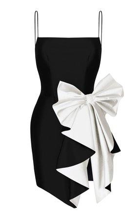Rasario Bow Draped Silk Dress Size: 34