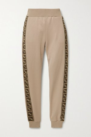 Fendi   Jacquard-trimmed satin-jersey track pants   NET-A-PORTER.COM