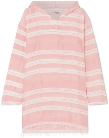 Doro Frayed Striped Cotton-blend Gauze Hoodie - Pink
