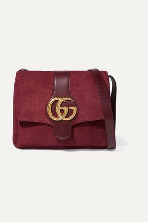 Burgundy Arli medium leather-trimmed suede shoulder bag | Gucci | NET-A-PORTER