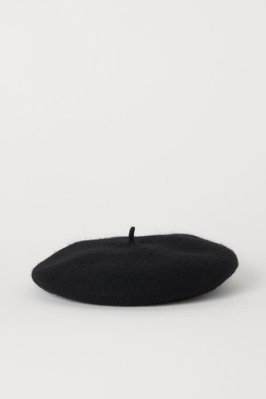 Felted Wool Beret - Black