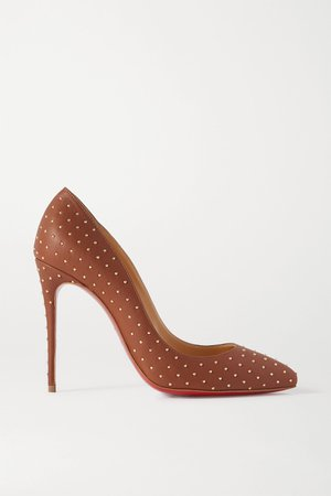 Brown Pigalle Follies 100 studded leather pumps | Christian Louboutin | NET-A-PORTER