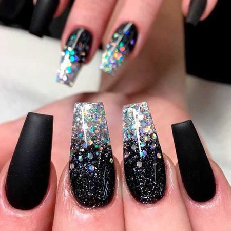 Trendy Black And Glitter Acrylic Nails Result - Fazhion