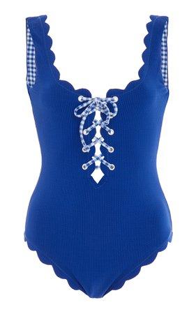 Marysia Swim Palm Springs Tie-Detailed Scalloped Swimsuit