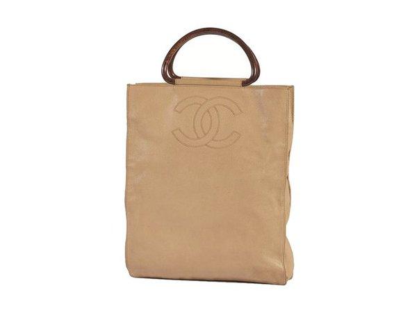 Chanel CHANEL Beige Caviar Leather x Wooden Handle Tote Bag Handbags Leather Brown,Beige ref.59143 - Joli Closet