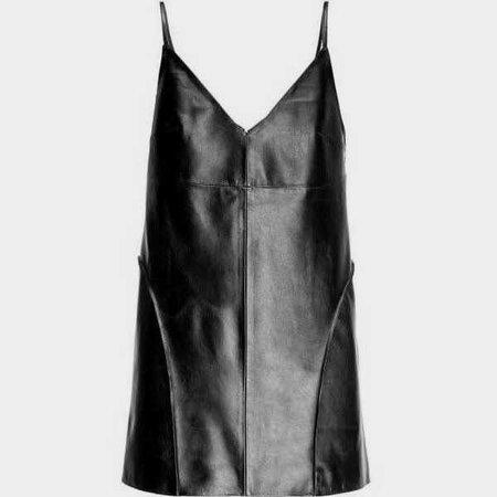 Leka - Black Leather Cami Dress ($355)