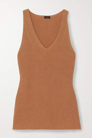 Cote Anglaise Ribbed Cotton Tank - Brown