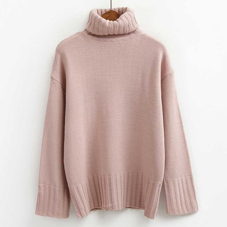 Pink Turtleneck Pullover Sweater
