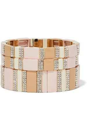 Roxanne Assoulin | Pink Sand set of three enamel, gold-tone and crystal bracelets | NET-A-PORTER.COM