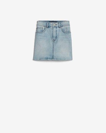 High Waisted Straight Mini Jean Skirt