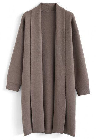 Shawl Neck Longline Cardigan in Taupe