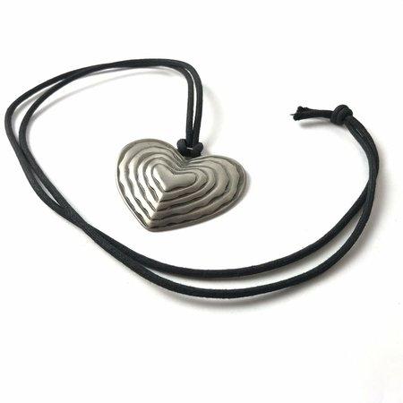 Vintage 90s Hippie Tribal Festival Big Metal Heart Pendant corded necklace | eBay