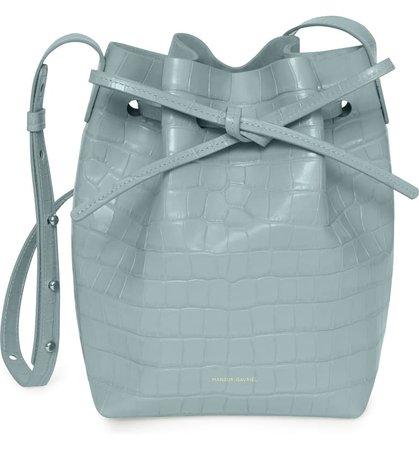 Mansur Gavriel Mini Croc Embossed Leather Bucket Bag   Nordstrom