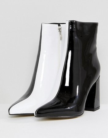 Public Desire Chaos Black and White Contrast Ankle Boots | ASOS