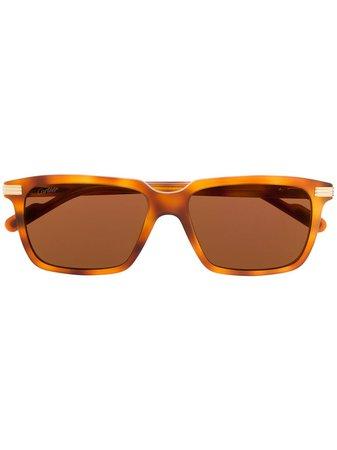 Cartier Eyewear C De Cartier rectangular-frame Sunglasses - Farfetch