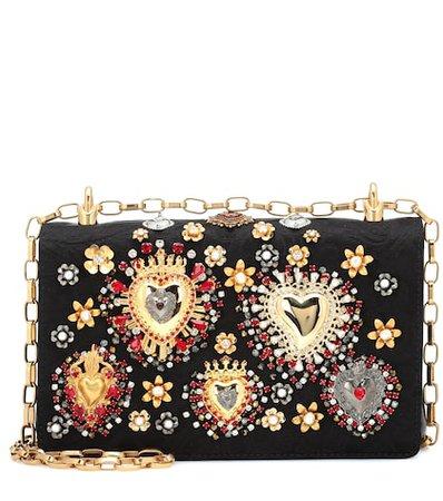 Embellished jacquard shoulder bag