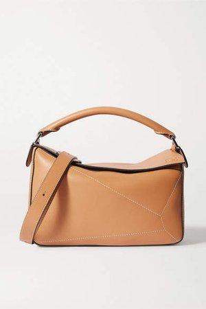 Puzzle Large Leather Shoulder Bag - Tan