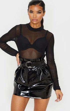 Black Vinyl Belted Paperbag Mini Skirt | PrettyLittleThing