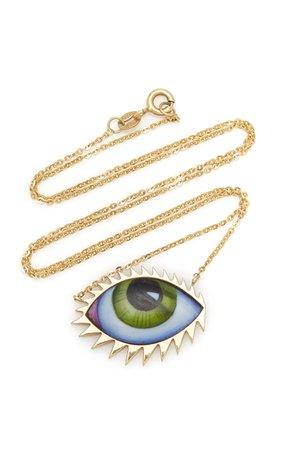 Lito 14K Gold Large Green Enamel Eye Necklace