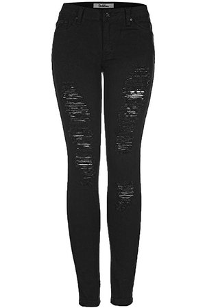 2LUV Women's Distressed Skinny Jeans Black 13 at Amazon Women's Jeans store