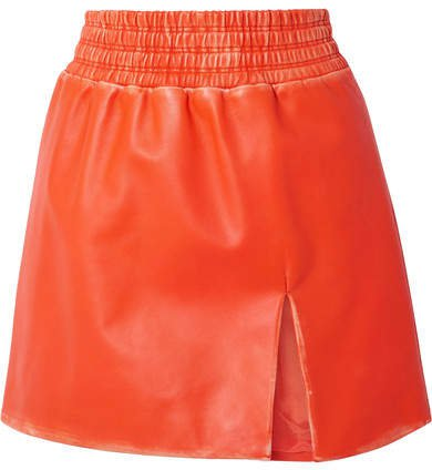 Distressed Leather Mini Skirt - Bright orange